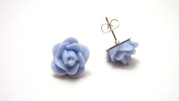 Light Blue Rose Studs - Icing flower periwinkle cornflower blue rose hypoallergenic nickel free post earrings