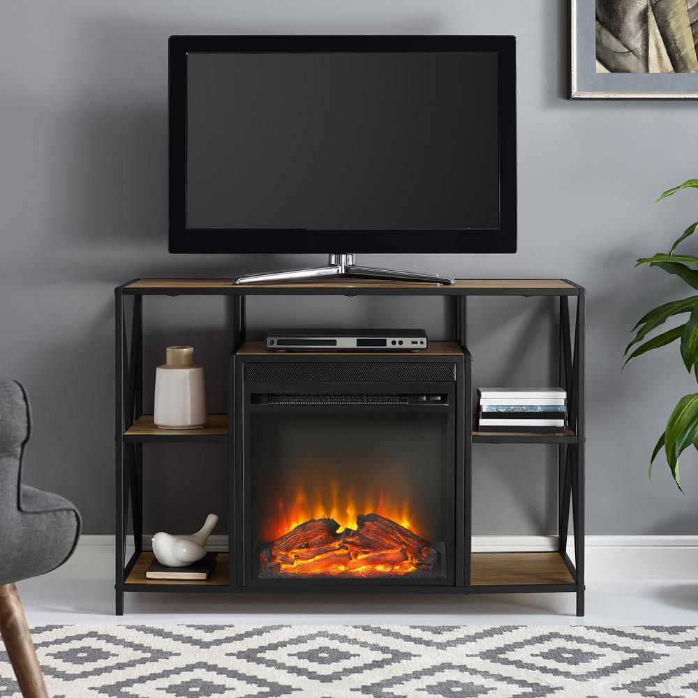 Walker Edison 40 Rustic Electric Fireplace X Frame Tv Stand