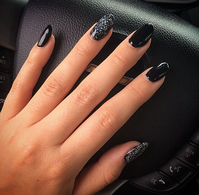 Black almond shaped nails with glitter. I want mine more almond and ...