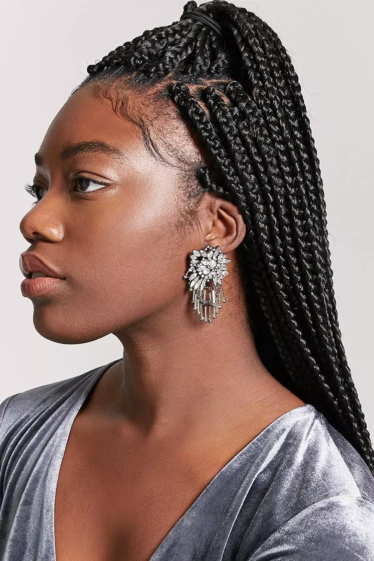 Product Name:Rhinestone Cluster Drop Earrings Category