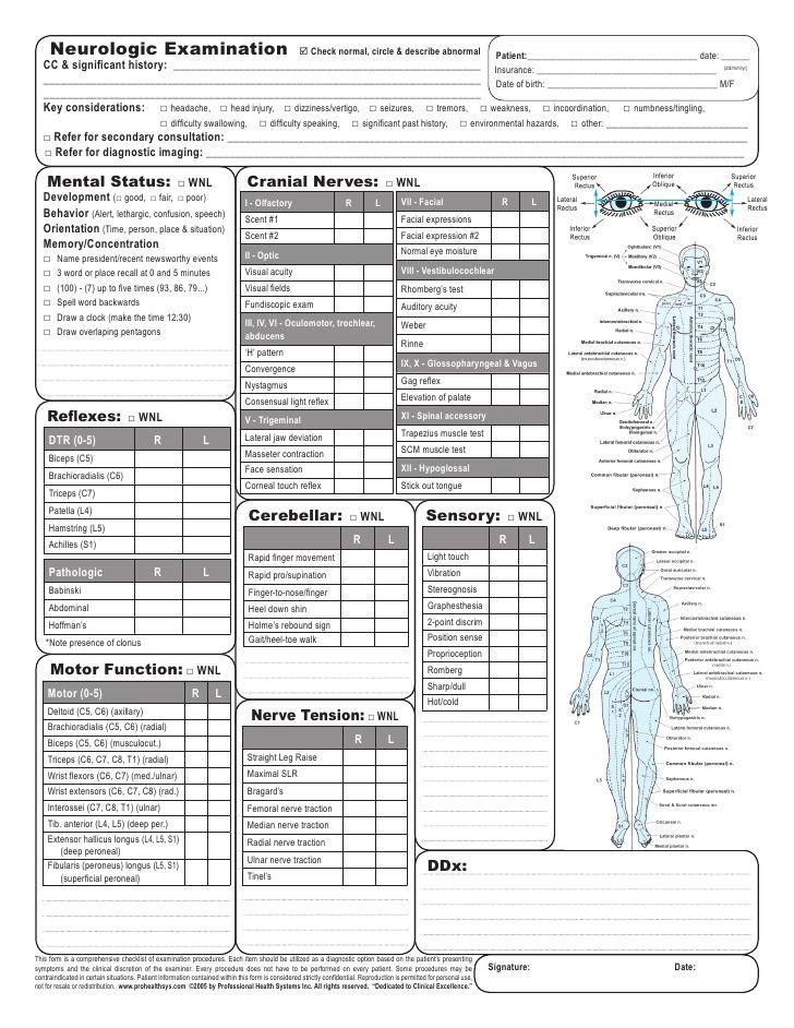 Neurologic Examination Check Normal Circle