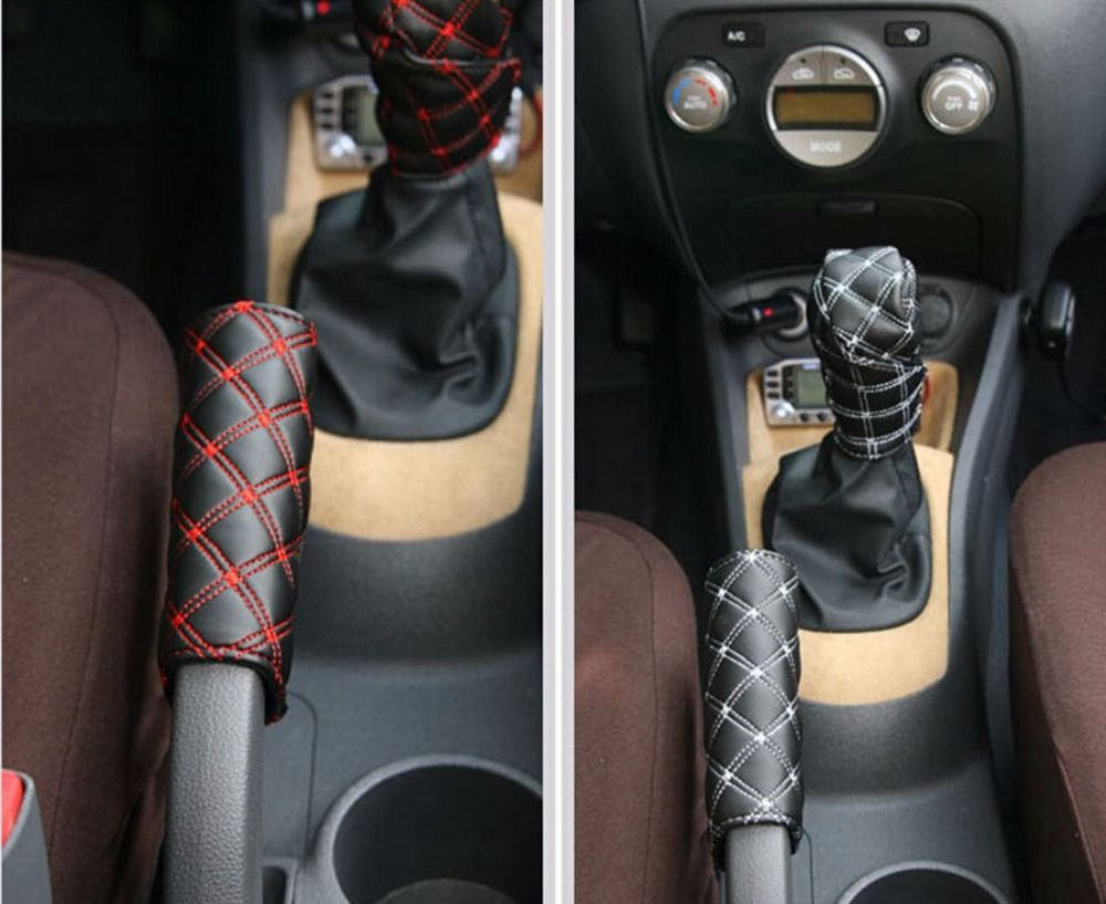 1set 2pcs diy universal grid microfiber auto car decoration gear set hand brake case holder