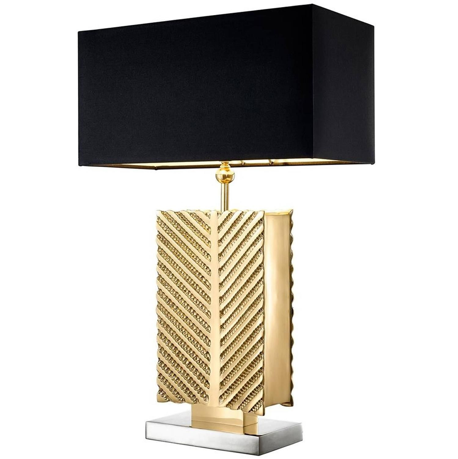 Opera Table Lamp In Polished Brass And Nickel Finish Gold Table Lamp Rectangular Table Lamp Nickel Table Lamps