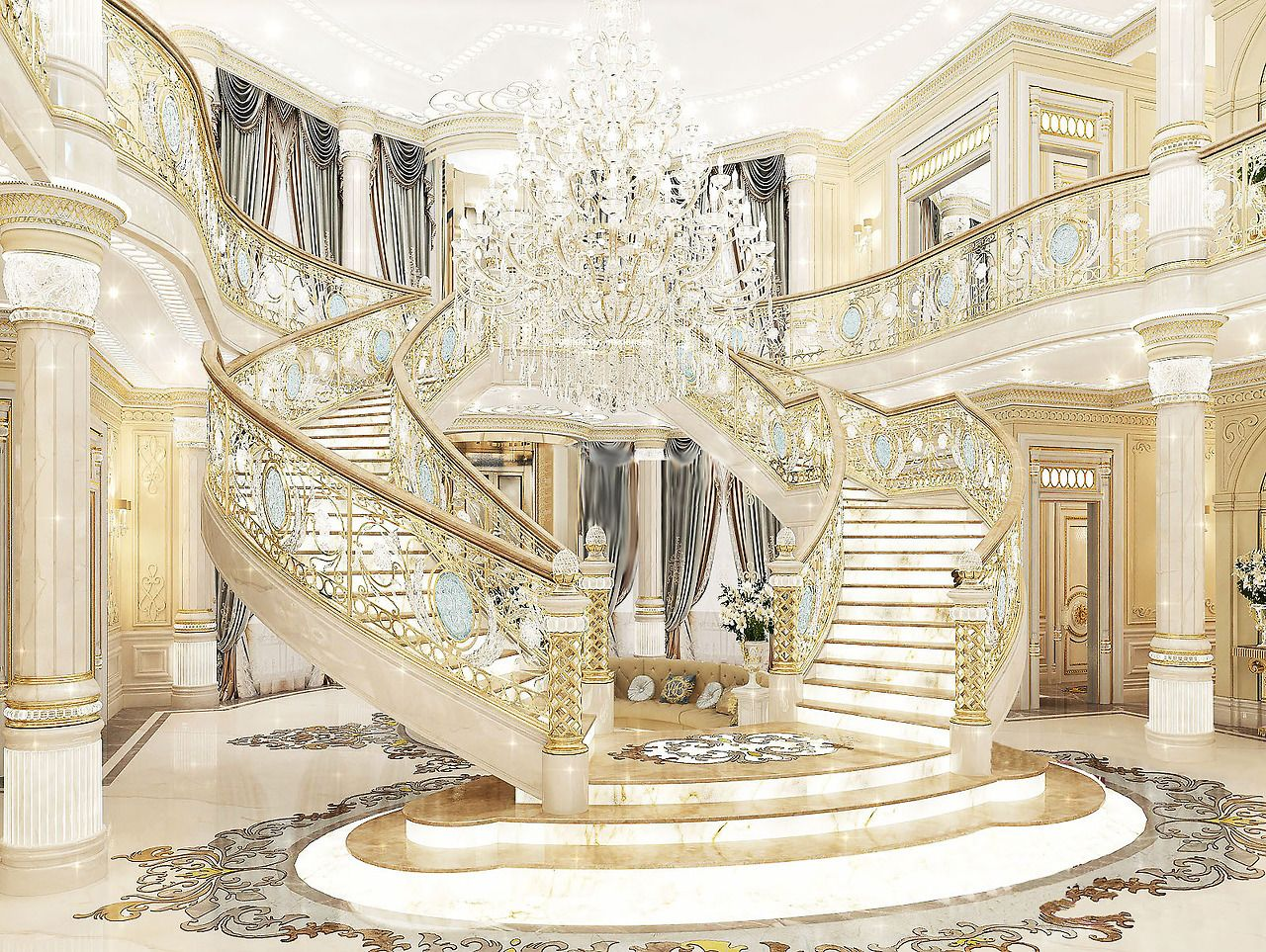 Royal entrance luxury antonovich design - Luxury house plans with photos of interior ...