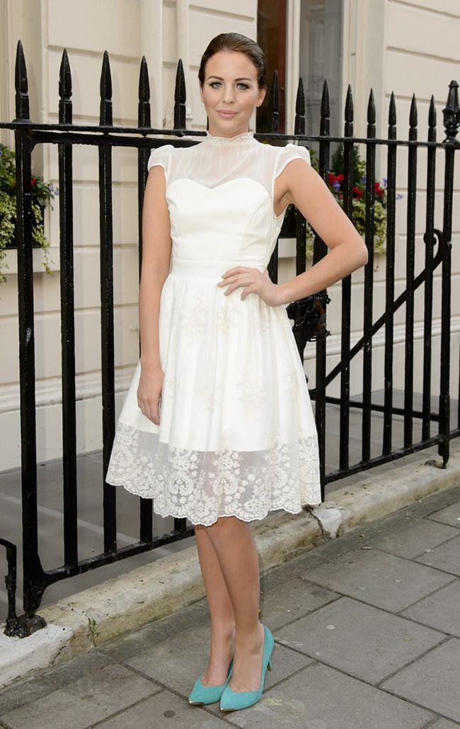 #LydiaRose Bright Heels with #Sheer white dress