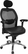 Space Office Chair - Pin it :-) Follow us :-)) AzOfficechairs.com is your Office chair Gallery ;) CLICK IMAGE TWICE for Pricing and Info :) SEE A LARGER SELECTION of  space office chair at http://azofficechairs.com/?s=space+office+chair - office, office chair, home office chair - High Back Super Mesh Office Chair with Black Italian Leather Seat and Knee Tilt Control [LF-W42-L-HR-GG] « AZofficechairs.com