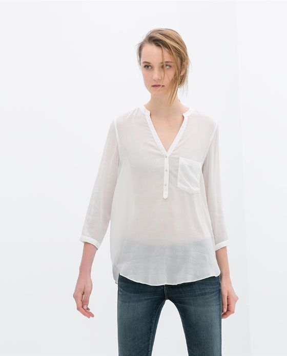 Oversized and slouchy. Perfect with jeans or trousers  Image 1 of THREE-QUARTER SLEEVE BLOUSE from Zara