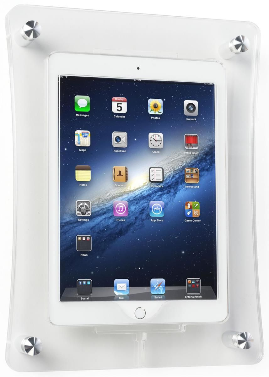 Ipad Air Wall Mount With Clear Acrylic Enclosure Optional Home Button Cover In 2020 Clear Acrylic Ipad Ipad Holder
