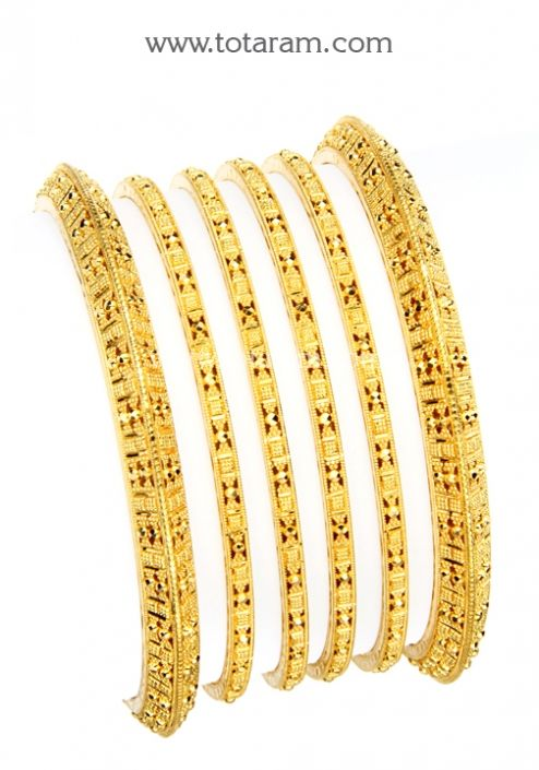 22K Gold Bangles Set of 6 3 Pairs Totaram Jewelers Buy Indian