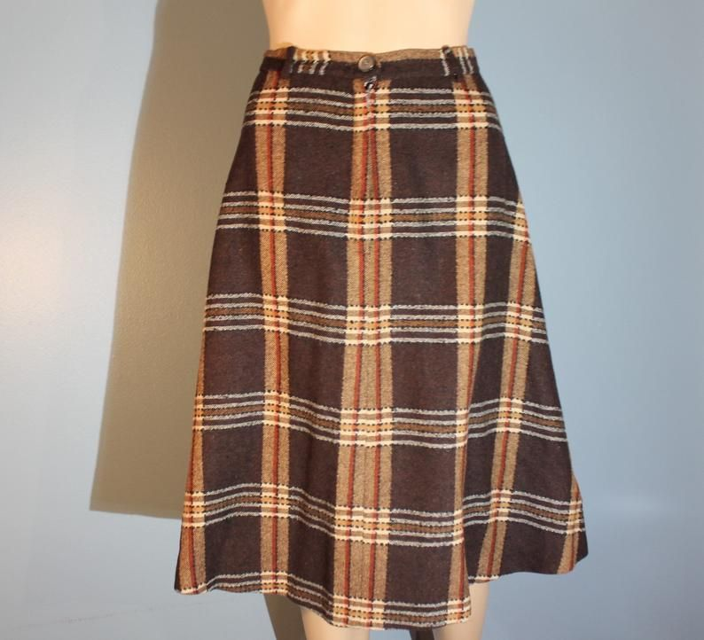 Vintage wool plaid skirt  1960s brownbeige  pleated skirt size small 26 waist