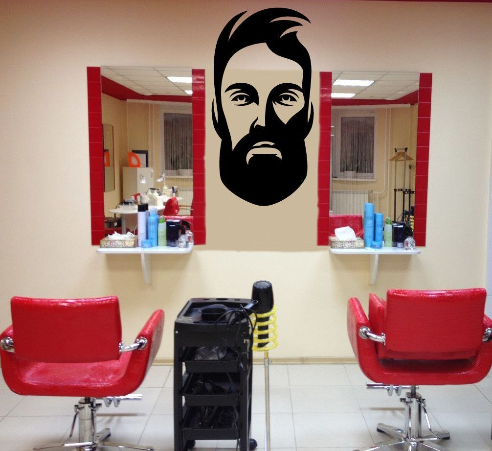 wall vinyl decal barber shop salon moustache haircut on wall stickers for hall id=39048