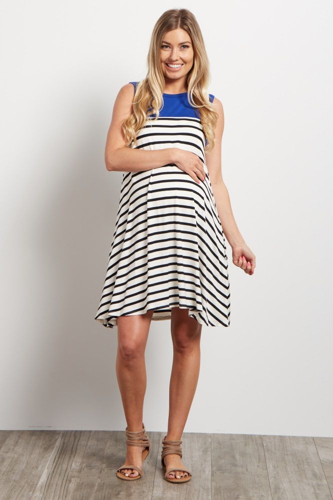 7a4150a07d4 All your favorite prints are now available with this adorable maternity  dress. A colorblock neckline adds a pop of color to a neutral striped print  for a ...