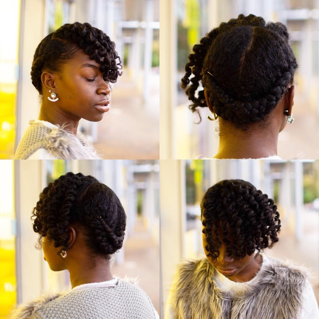 Twist Updo 1 Section Off The Front To Do Your Flat Twists 2 Smooth I Used Ecostyler Gel And Taliah Waajid Curly Curl Cr Hair Styles Flat Twist Twisted Updo
