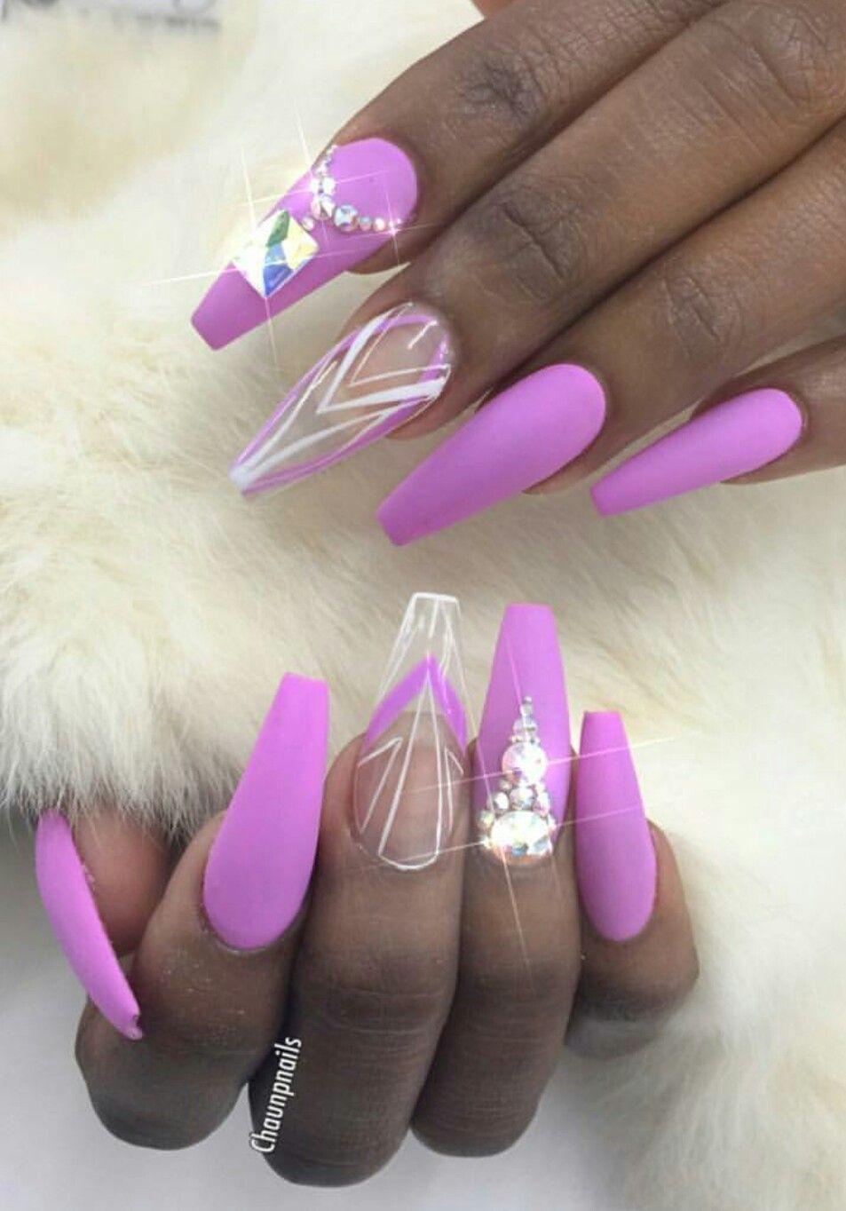 Purple lavender matte nails | Nails | Pinterest | Uñas acrílico ...