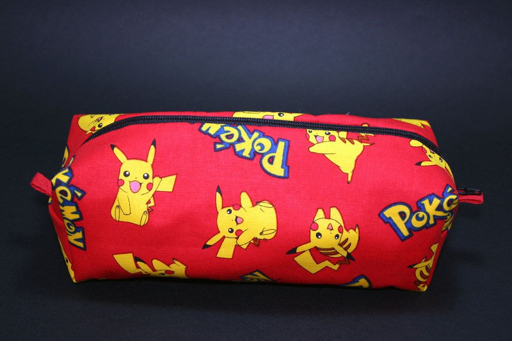Boxy Makeup Bag - Pikachu on Red Zipper - Pencil Pouch - Pokemon Gotta Catch 'Em All for $12 +s&h by JustPeachyHandmade on Etsy