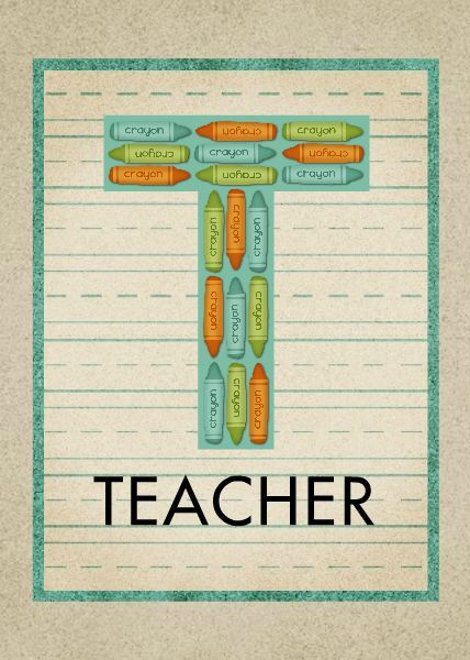 HM T Is For Teacher Card Designed By Roxanne Buchholz X Greeting - 5x7 greeting card template