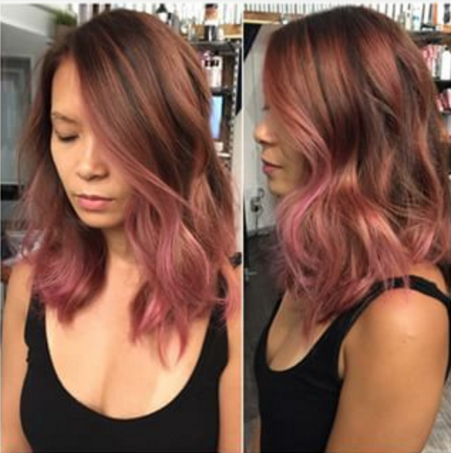 Short Weave Ombre Rose Gold Hair