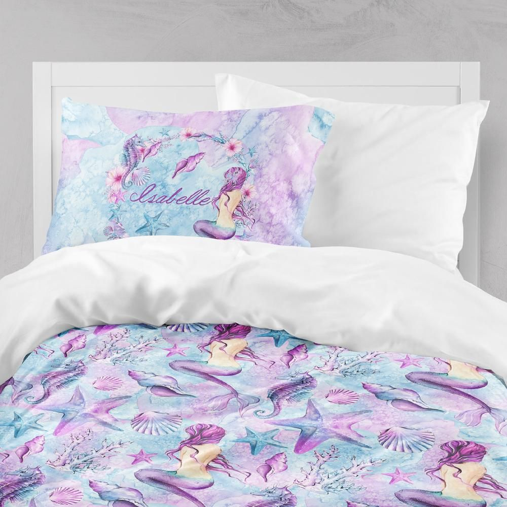 Personalized Purple Watercolor Mermaid Crib And Toddler Bedding Collection Kids Bedding Sets Kids Room Bed Mermaid Kids Rooms