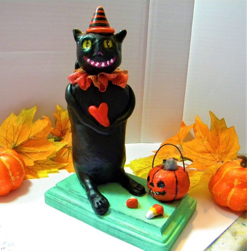Whimsical Halloween black cat clay sculpture