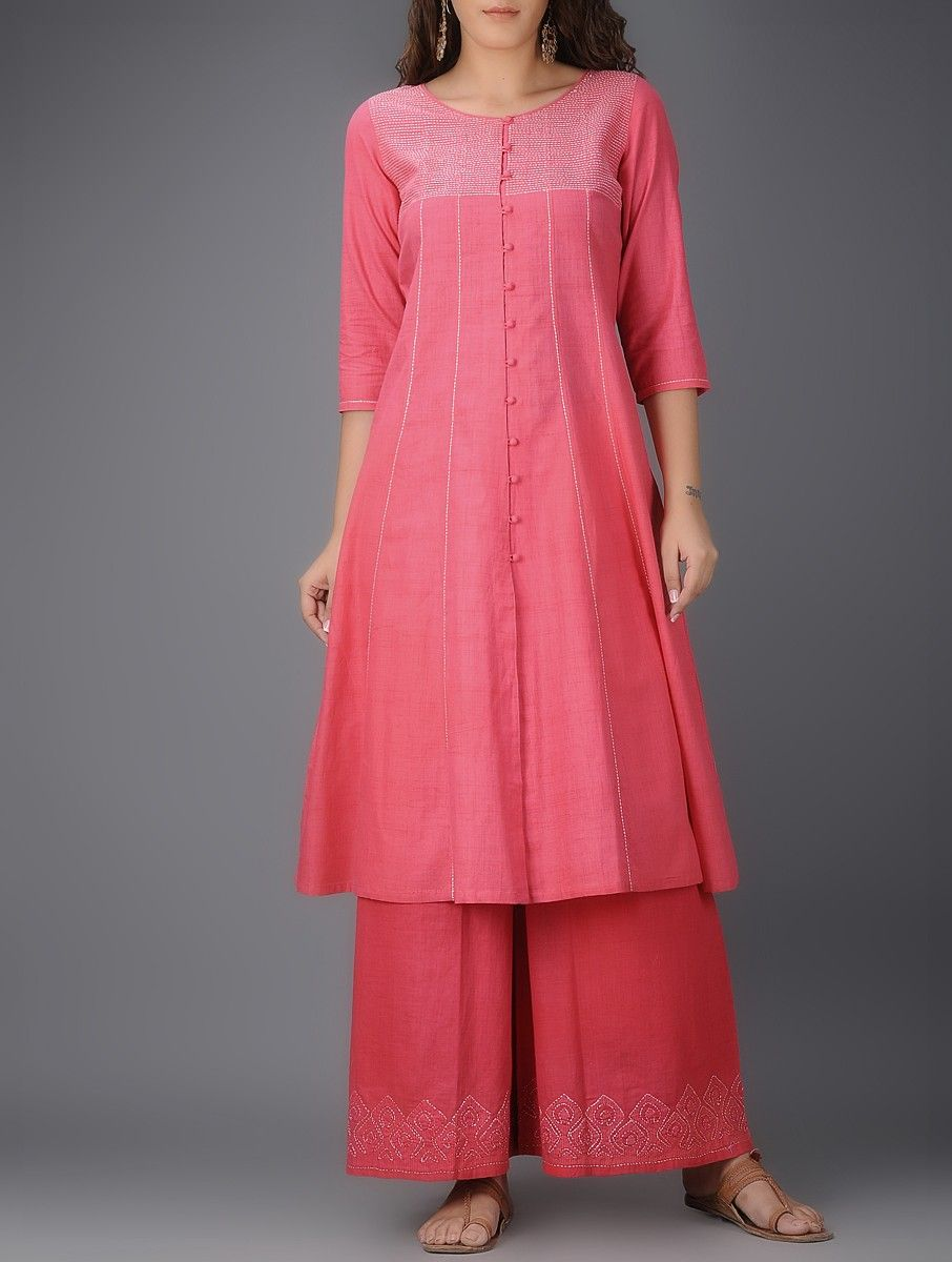 Buy Pink Front Slit Cotton Kurta with Tanka Work Online | Ropa