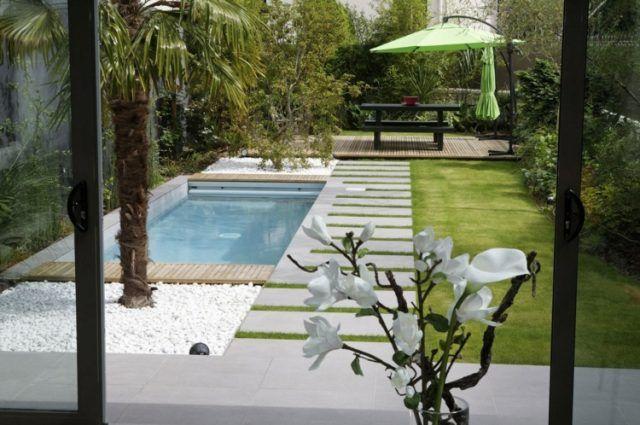Piscine Pour Petit Jardin Moderne Deco Galets Blancs Allee