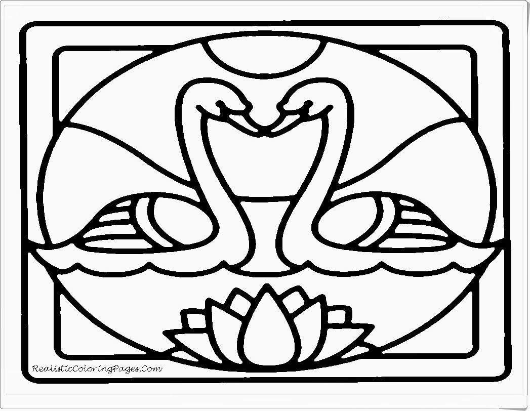 Attractive White Swan Printable Animals Valentine  Coloring Pages