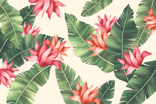 Beautiful summer print with palm tree le... | Free Psd #Freepik #freepsd #background #pattern #watercolor #floral