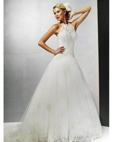 Tulle Lace Sweep Train High Neck Princess Wedding Dress 19905
