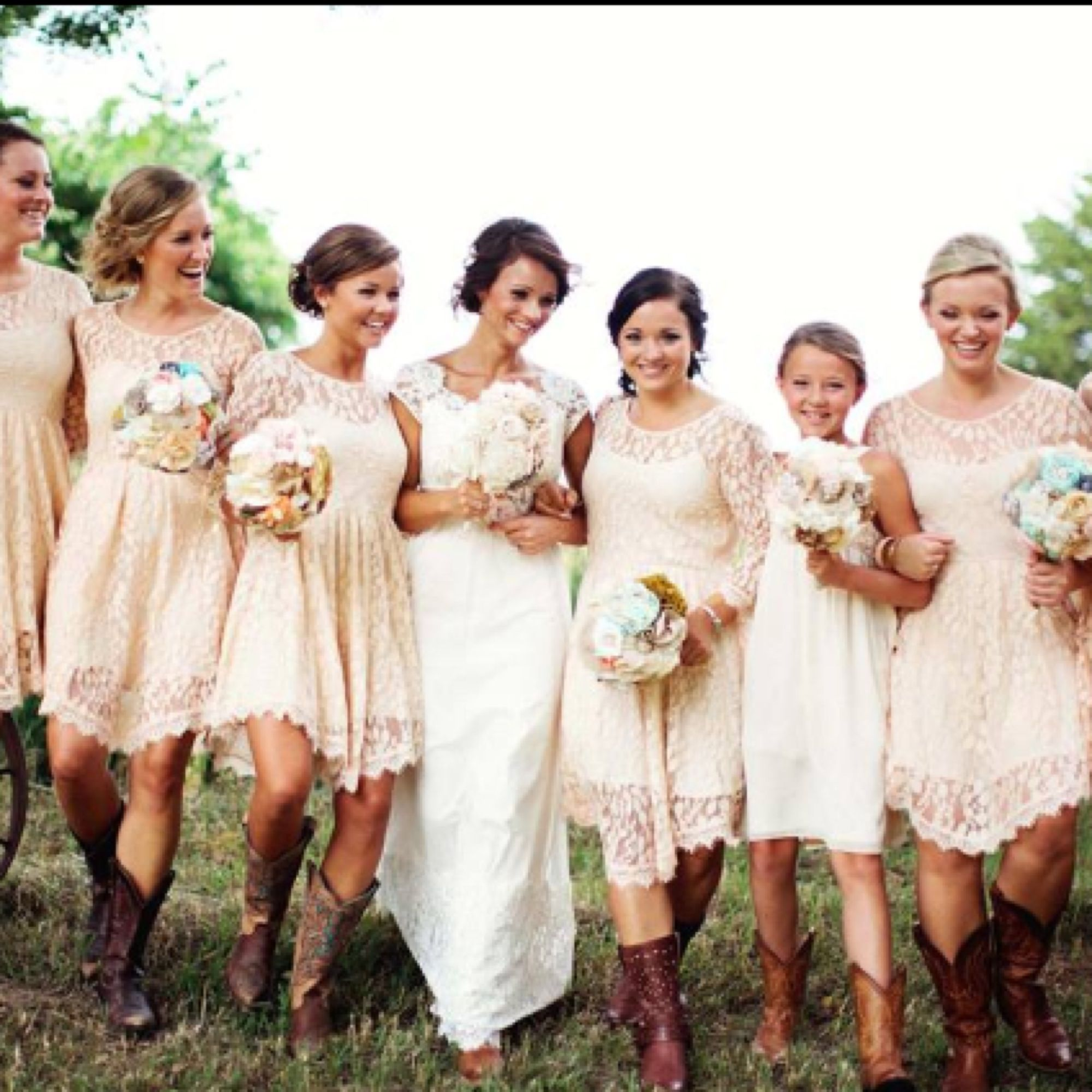 Cows And Lace Country Wedding Bridesmaids Bridesmaid Dresses Cowboy Boots