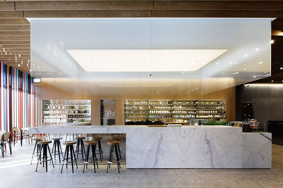 Ten stylish shops that also serve coffee steel shelving for New york based architecture firms