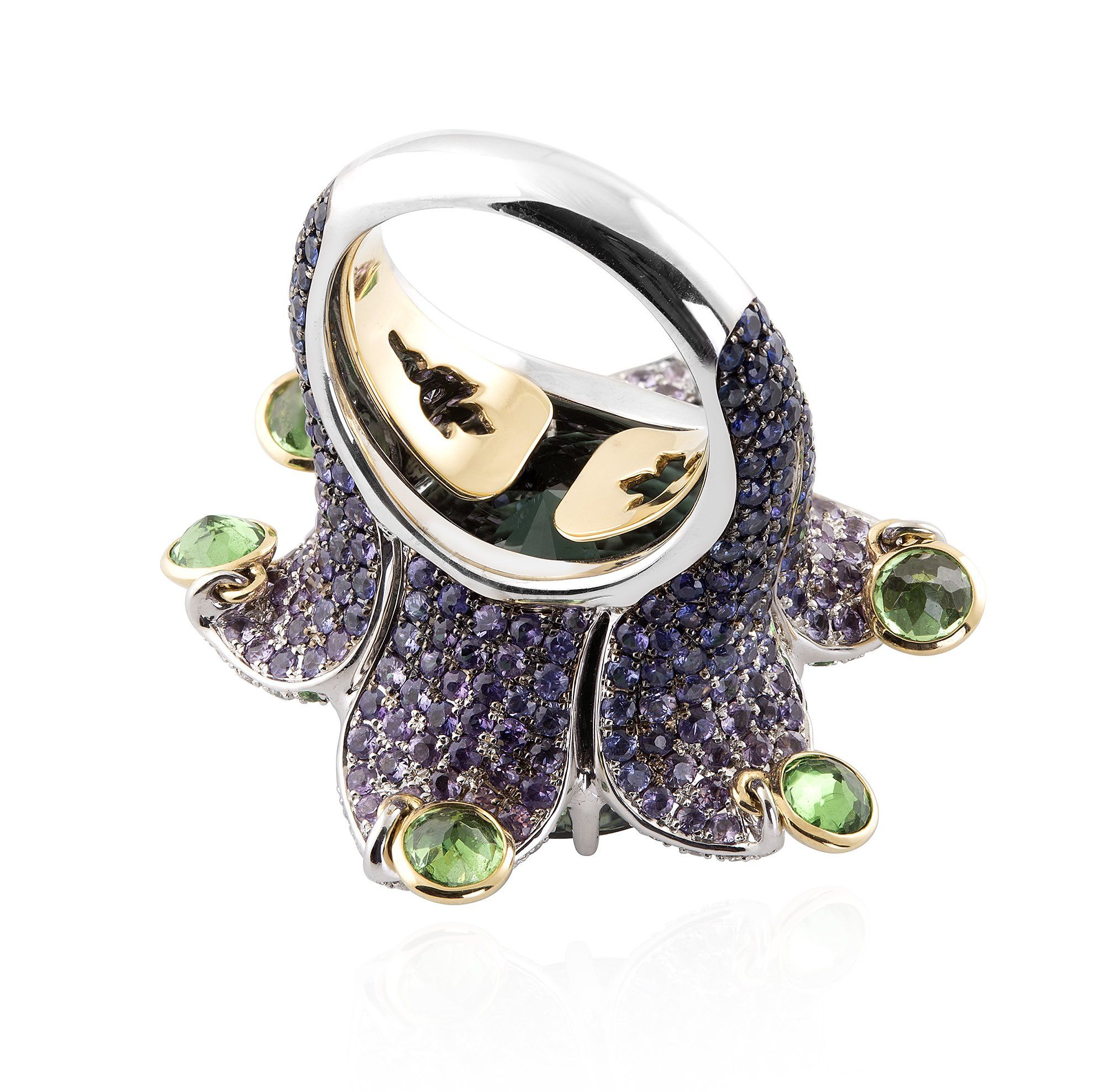 diamonds white gold in ring green tourmaline with rings