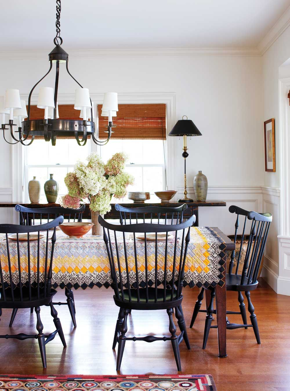 Those Black Windsor Chairs Are Divine And The Quilt On Farmhouse Dining RoomsWood