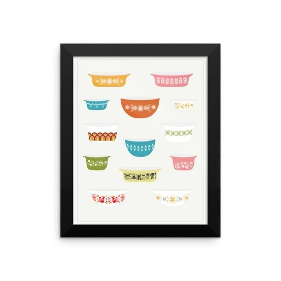 A Matte Black Kitchen Makes A Bold Statement In This: Vintage Pyrex Framed Poster