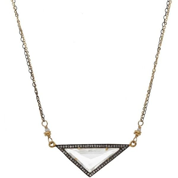Geometric Crystal Necklace ($177) ❤ liked on Polyvore featuring jewelry, necklaces, geometric pendant necklace, long crystal necklace, long chain necklace, geometric pendant and crystal necklace