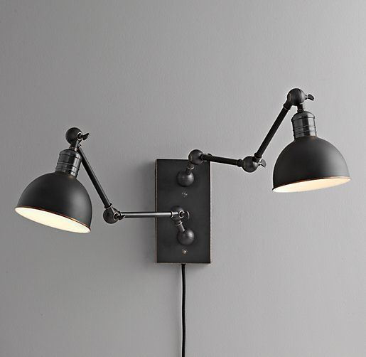 double swing arm sconce finish black back plate wall bathroom lamp with dimmer restoration hardware atelier