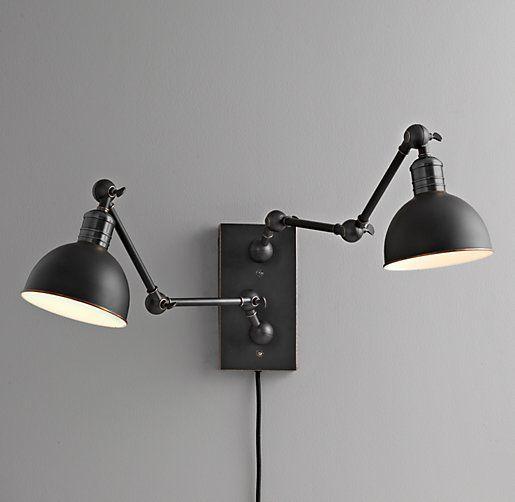 Double Swing Arm Tipton Sconce Black 179 Swing Arm Wall Lamps Black Wall Lamps Double Wall Sconce Double swing arm wall lamp
