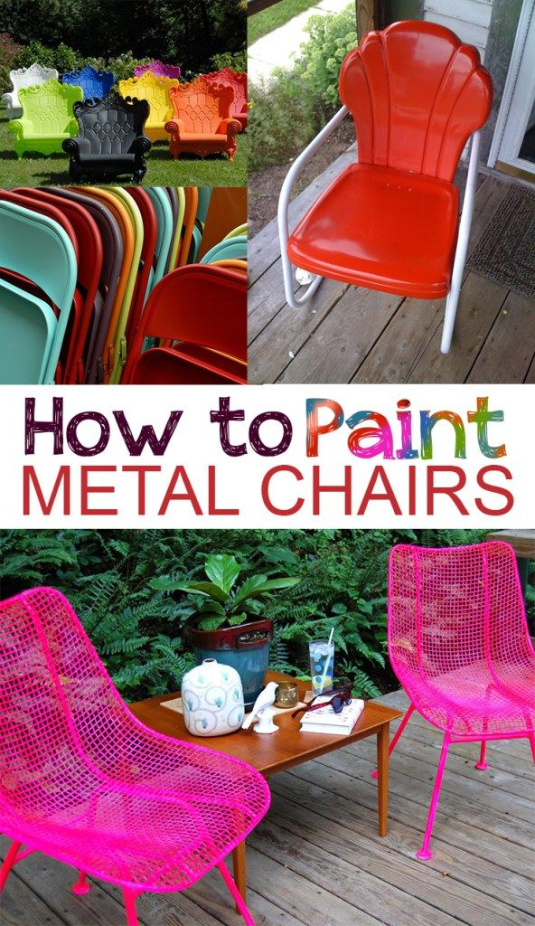 How to Paint Metal Chairs -  Painting metal chairs and Painted metal