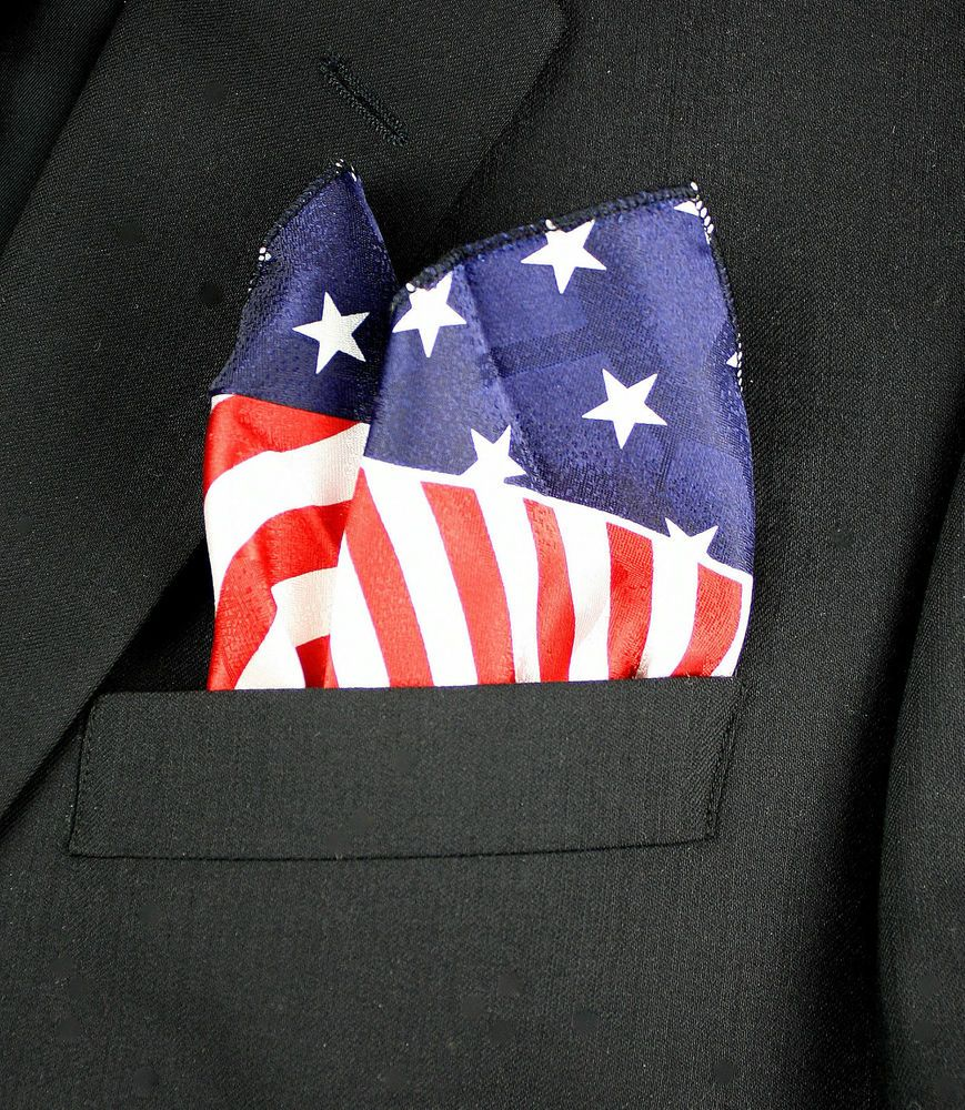 America Hanky Mens Handkerchief USA Stars /& Stripes Pocket Square