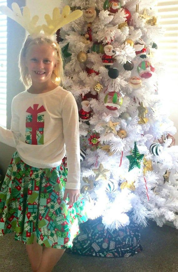 2 piece Adorable holiday Christmas designer red and green circle twirl SKIRT, gift applique SHIRT - baby, toddler, girl, tween NB-16 #twirlskirt