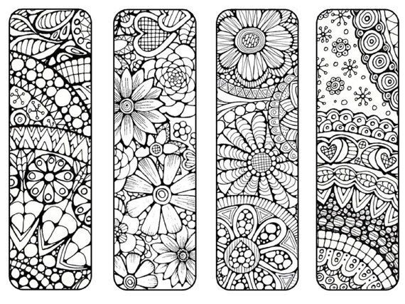 bookmarks to print and color bookmark coloring page digital download nature flowers