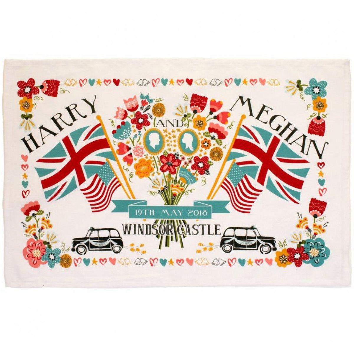 Royal Wedding Tea Towel Flags & Flowers Kitchen