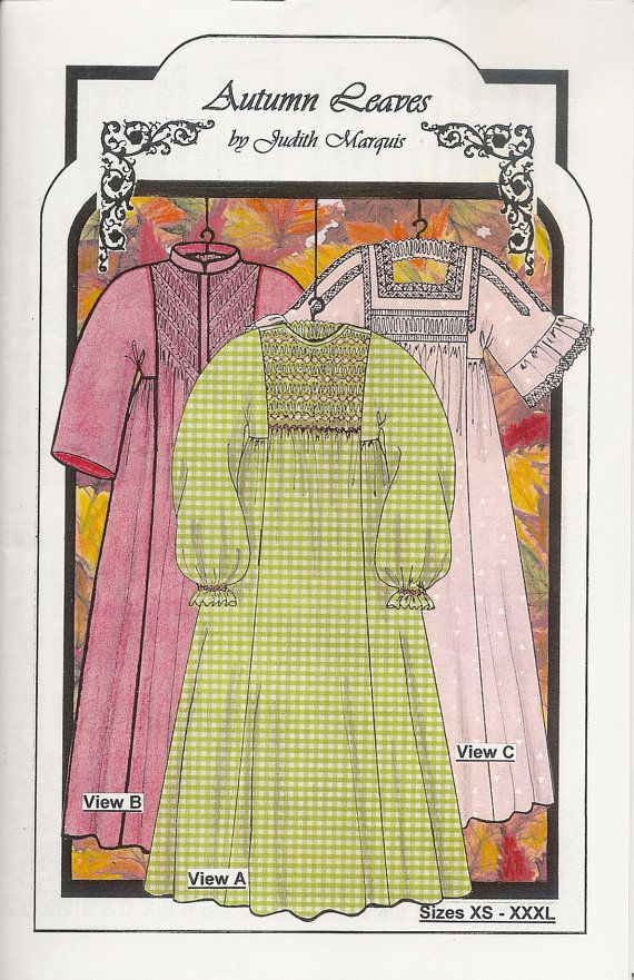 ca86d6cc9f Autumn Leaves Smocked Nightgown   Robe Sewing Pattern by Judith ...
