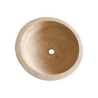 Vasque à poser travertin Diam.42 cm beige / naturel Aline ...