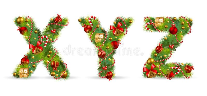 Xyz Christmas Tree Font With Green Fir And Baublest Aff Tree Christmas Xyz Font Christmas Alphabet Creative Christmas Trees Christmas Ornaments
