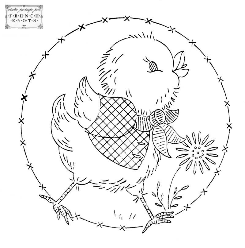 Free vintage chick embroidery transfer pattern