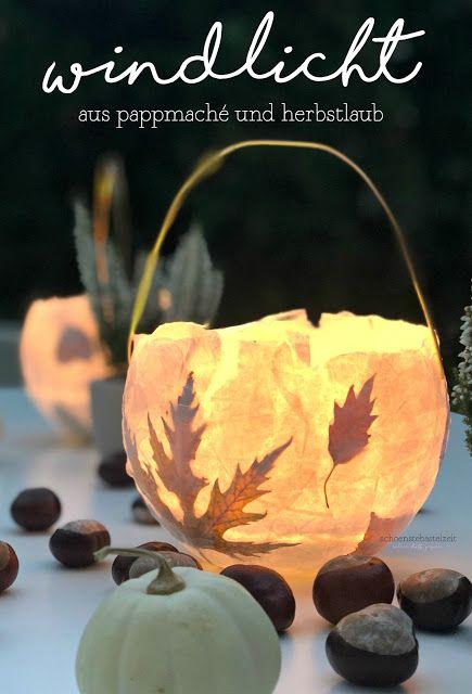 Eine herbstliches Windlicht aus Pappmaché und gepressten Herbstblättern #kugellaterne #windlicht #laterne #herbstblätter #herbst #laub #herbstlaub #laternebasteln