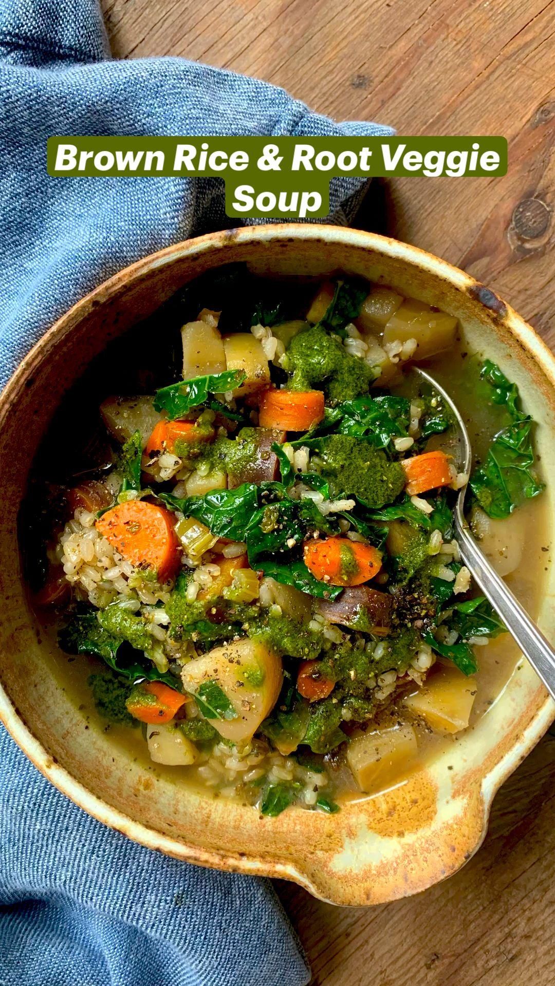 Brown Rice & Root Veggie Soup