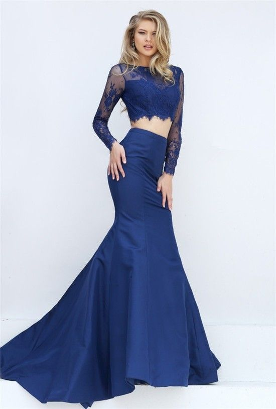 Sexy Mermaid Two Piece Long Sleeve Navy Blue Lace Satin Evening Prom Dress b585f8637f84