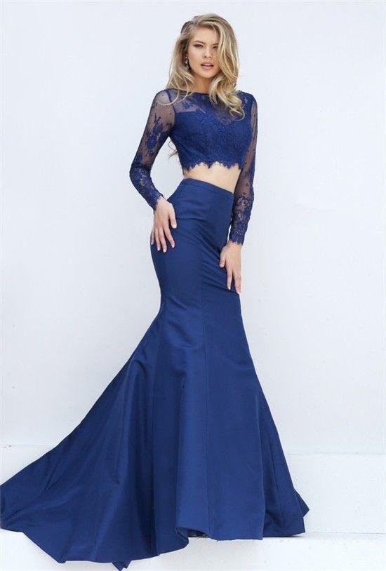 Navy Blue Lace Prom Dress