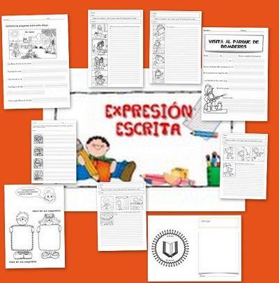 Recursos para el aula: Fichas de lengua de expresión escrita Fichas para trabajar la expresión escrita, escribe historias sobre tus